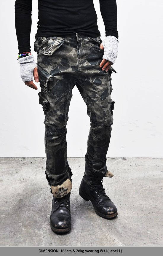 Bottoms :: Wax Coated Multi Pocket Camouflage-Jeans 112 - Mens Fashion Clothing For An Attractive Guy Look