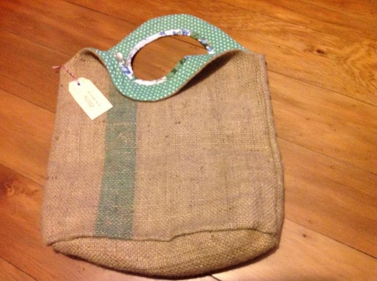 Gerty Brown reversible bag - green spot