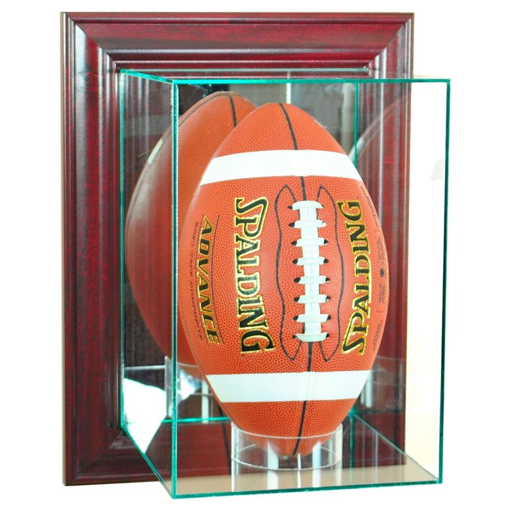 Perfect Cases - Wall Mounted Upright Football Display Case - Cherry (Red) Finish