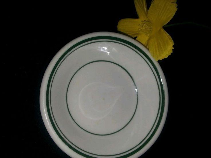 $1.00 Vitrified China Bowl USA white green stripes USA vintage Dish Restaurant quality #vitrified