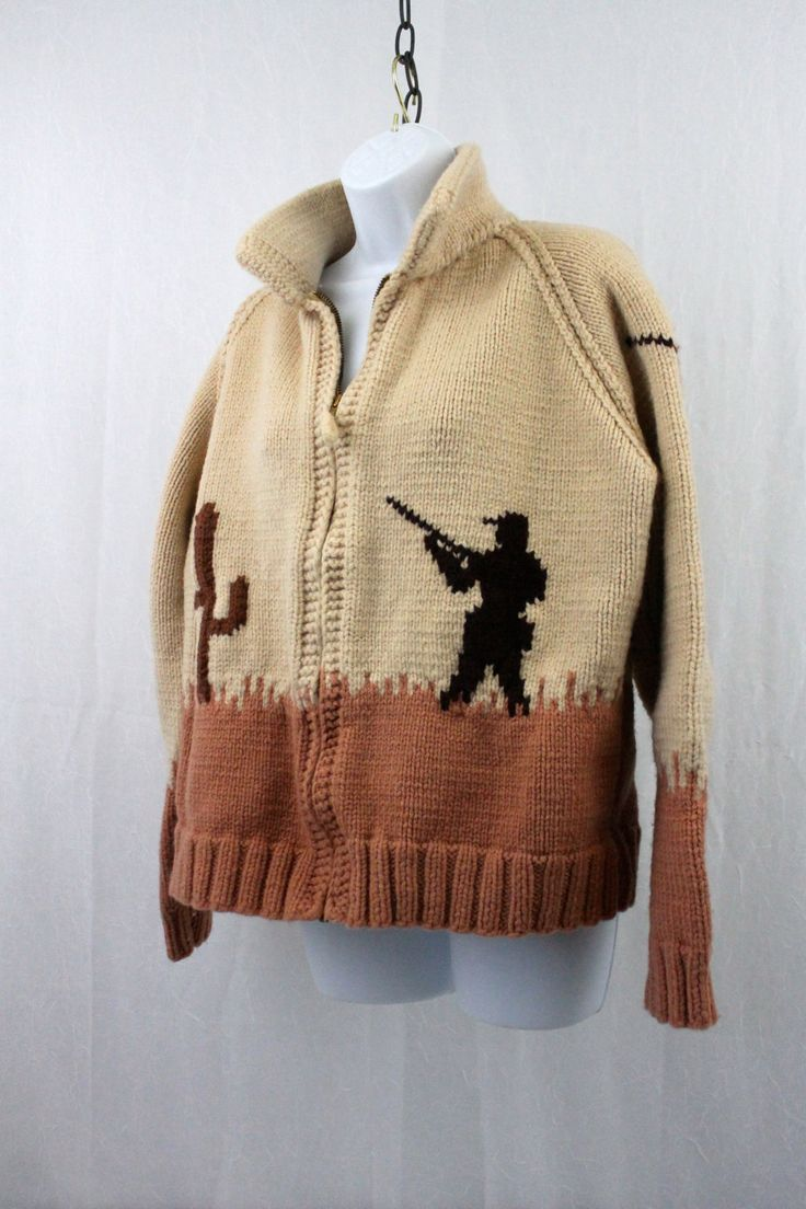 VIntage Cowichan Bison Wool Sweater BIG GAME Hunter Sweater by SweaterStories on Etsy