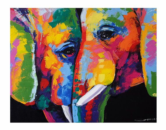 Colorful Couple Elephant Paintings Wall Decor Paintings In