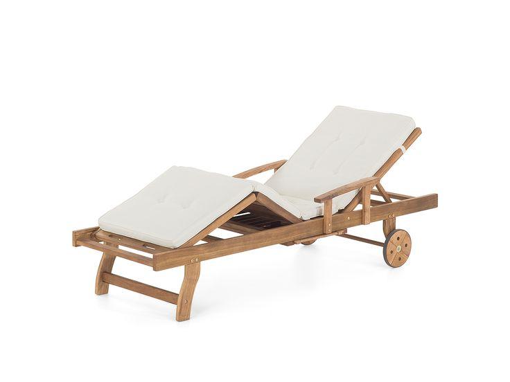 Ligtstoel hout  - hardhout strandstoel - strandbed - tuinligstoel - ligstoel - met kussen beige - JAVA