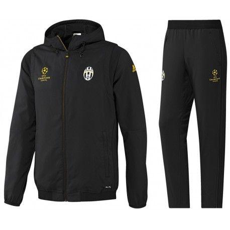 Survetement Juventus Ligue Des Champions 2016/2017 Capuche Officiel. Flocages Personnalisés Disponibles.