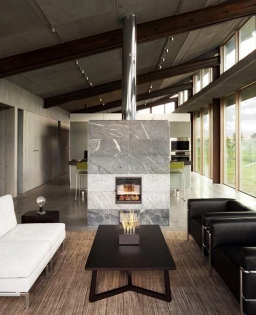 51 Modern Living Room Design From Talented Architects: 25 Two Sided Modern Fireplaces Working As Beautiful Room