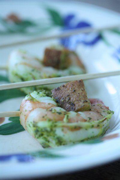 Shrimp Lollipops with Basil Pesto zested with lemon on skewers #food #recipe #shrimp