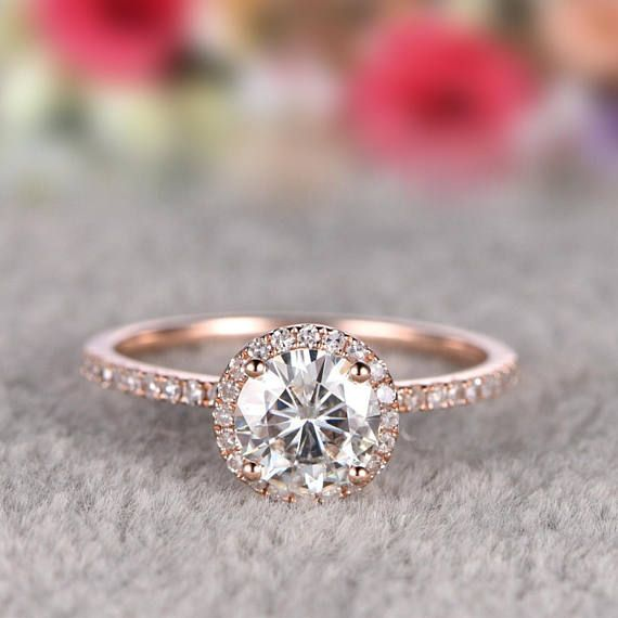 Solid 14k Gold Ring,1ct brilliant Moissanite Engagement ring Rose gold,Diamond wedding band,Gemstone Promise Bridal Ring,Halo,Prongs