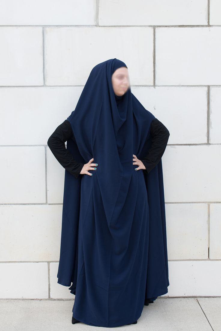 Navy open sleeve feet length khimar - Najhymm