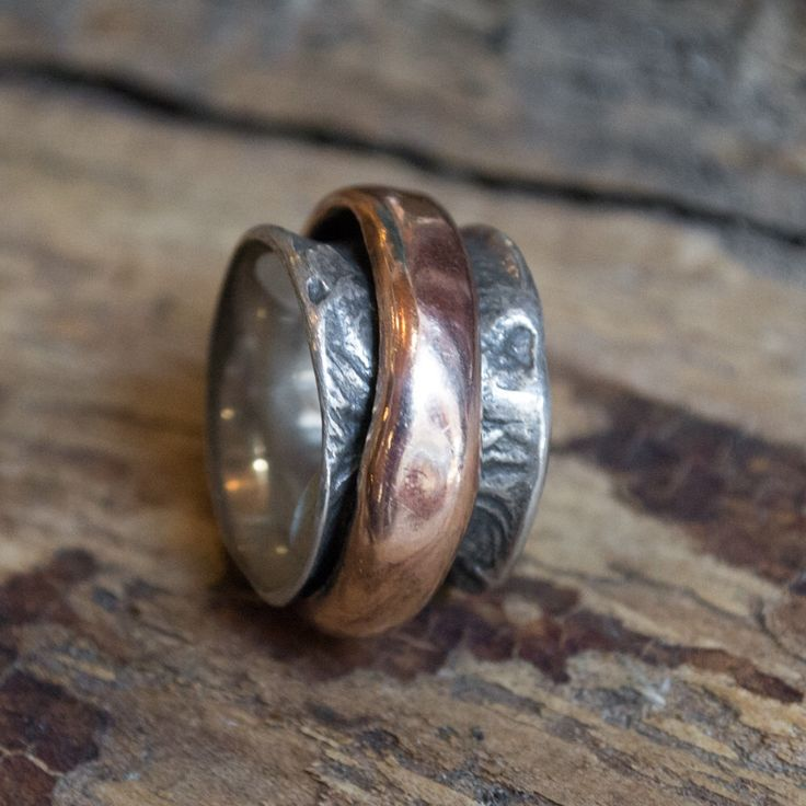 Rustic mans band, chunky ring, unique wedding ring, silver gold band, spinner ring, bohemian ring, boho ring, biker ring - Eternity R1358C by artisanlook on Etsy https://www.etsy.com/listing/245487855/rustic-mans-band-chunky-ring-unique