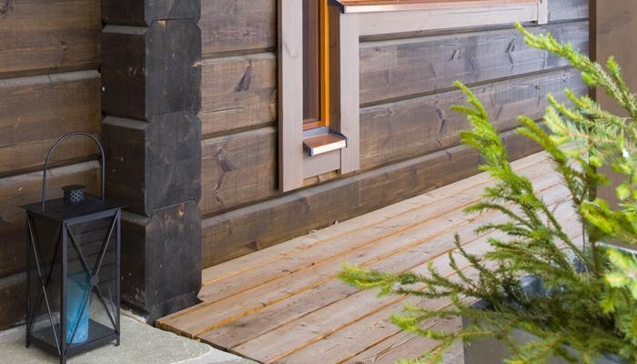 Pine that has been treated with semi-transparent wood finish. #Honka