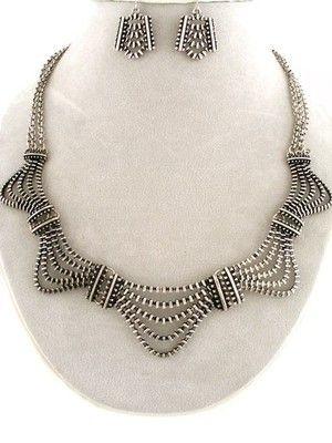 ODERN Silver Design ZIPPER Art Deco Fashion UNIKLOOK Jewelry Necklace EARRINGS