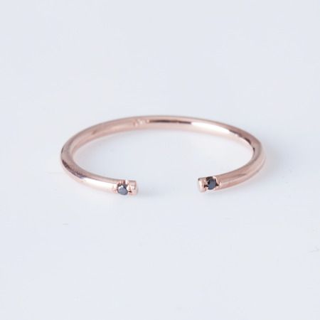 Jennie Kwon - Rose Gold Black 2 Diamond Cuff Ring | One of our favorite combinations of metal and gemstone is given a bold, modern update with a flush setting and open band.