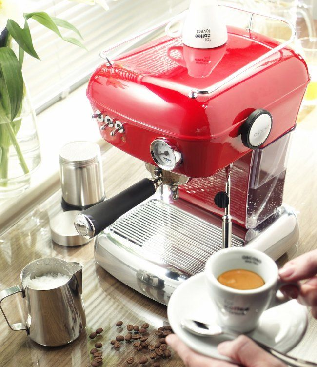 Nice photo of a red Ascaso Dream UP espresso machine.   http://www.ascasodream.com/