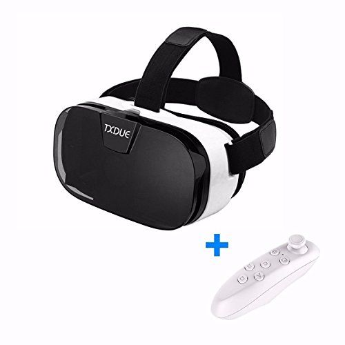 3D VR Headset TXDUE Virtual Reality Goggles with Bluetooth Remote Controller Upgraded and Much Lighter Version VR Glasses