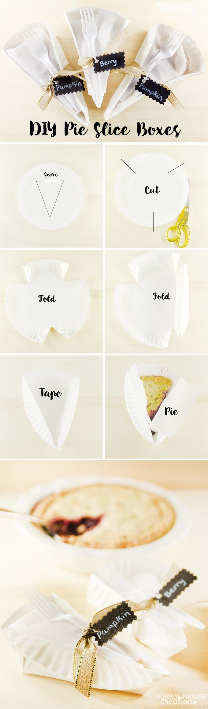 DIY Pie Slice Boxes! Perfect for sending home guests with a piece of pie or gifting for the holidays!