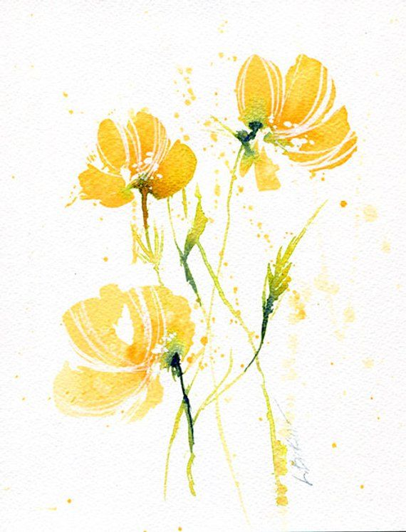 8x10 Original Painting Yellow Flowers Artwork Bright Floral Etsy