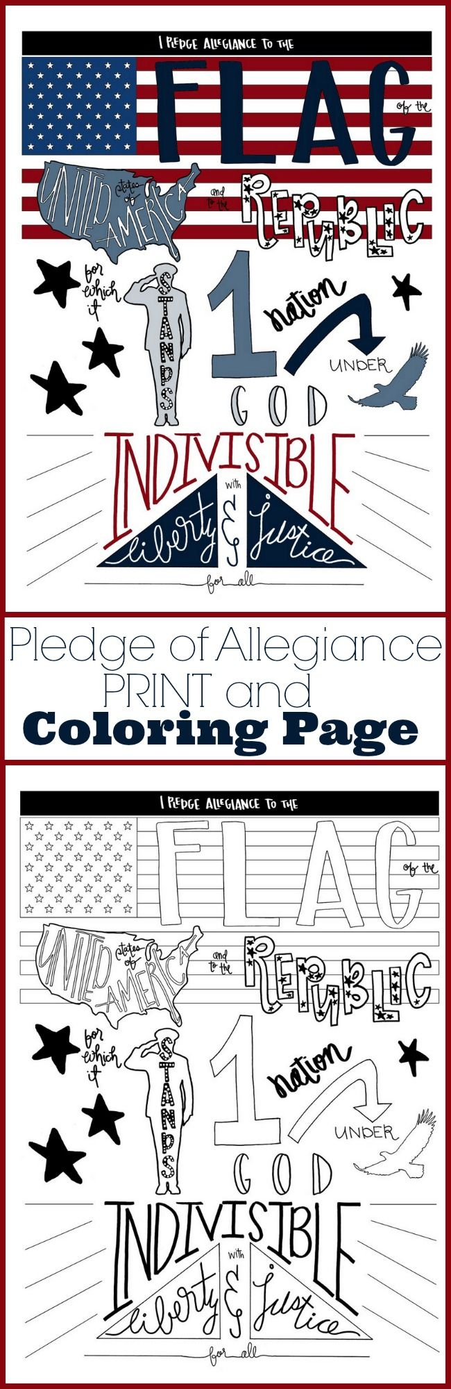 Free coloring pages for fourth of july - A Hand Lettered Pledge Of Allegiance Coloring Page Printable