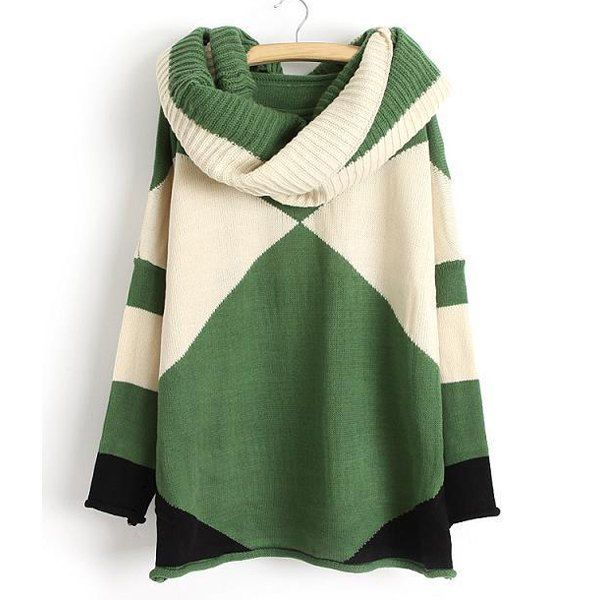 Color Block Scoop Collar Long Sleeve with Scarf Trendy Style Women's Sweater, GREEN, ONE SIZE in Sweaters