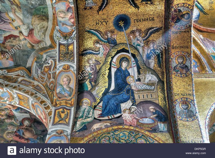 Download this stock image: Byzantine mosaic of church Santa Maria dell Ammiraglio (Martorana), Palermo, Sicily, Italy - DKP5GR from Alamy's library of millions of high resolution stock photos, illustrations and vectors.