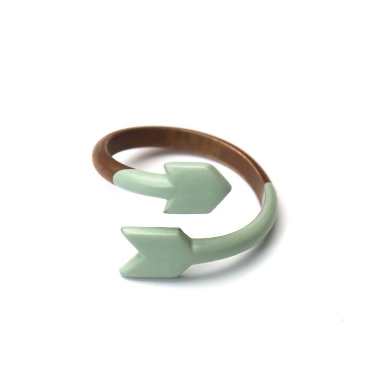 Miju and You - ARROW RING - Copper and dipped enamel / SEAFOAM. via Etsy.
