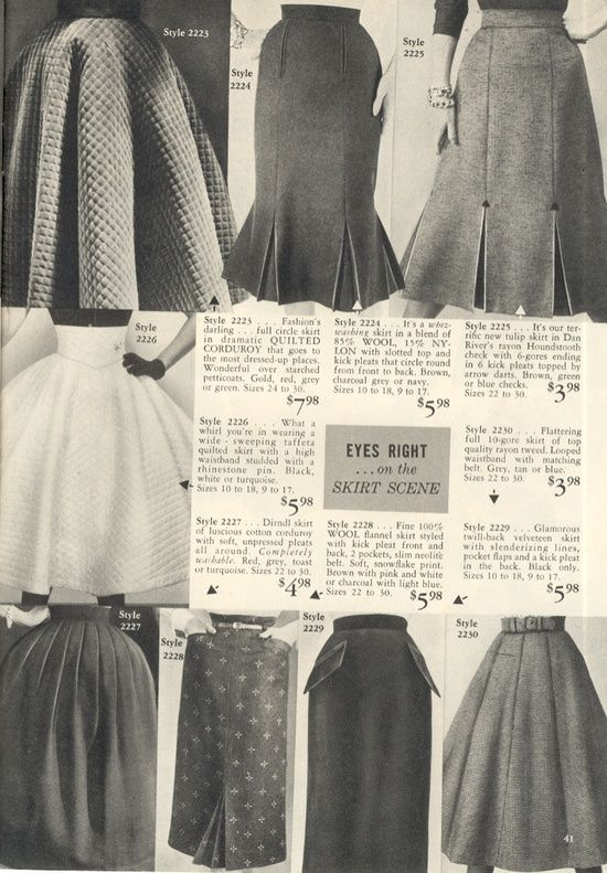 All kinds of marvelous 1950s skirt styles. Look at the prices.