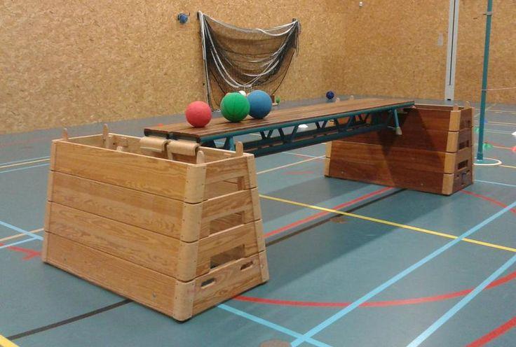 * Mikken Op Rollende Bal! Haal van de kasten de kastkoppen af. Leg de 2 banken tegen elkaar aan op de kasten. Zet aan beide kanten van dit bouwwerk met de pylonen op enige afstand een lijn uit. 2 ll gaan elk in 1 van de kasten staan. Ze rollen een bal over de banken heen en weer. De andere leerlingen proberen met ballen van achter de lijnen de bal van de bank af te mikken.