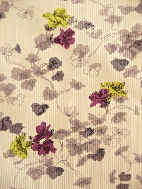 White Floral Cotton Fabric with Woven Self Stripe Vintage New