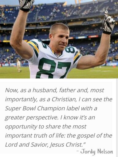 Green Bay Packers' Jordy Nelson; an amazing football player & devout Christian. All the more reason to adore this man!