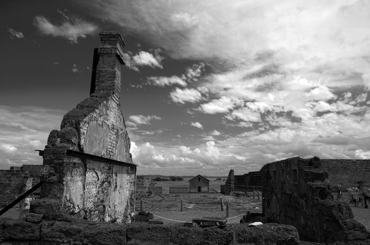 Ruined prison building, on St Helena Island.