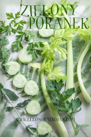 Zielony koktajl z selera naciowego, ogórka i natki pietruszki. Green vegetables smoothie.