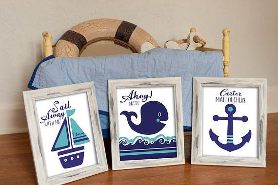 NAUTICAL NURSERY ART Whale nursery prints Navy turquoise