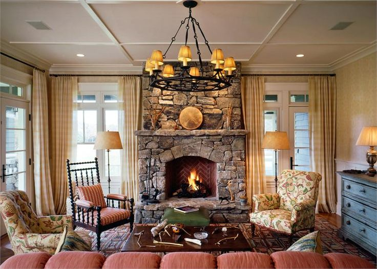 Cozy cottage living room with stone fireplace  Living Rooms  Cottage fireplace Stone