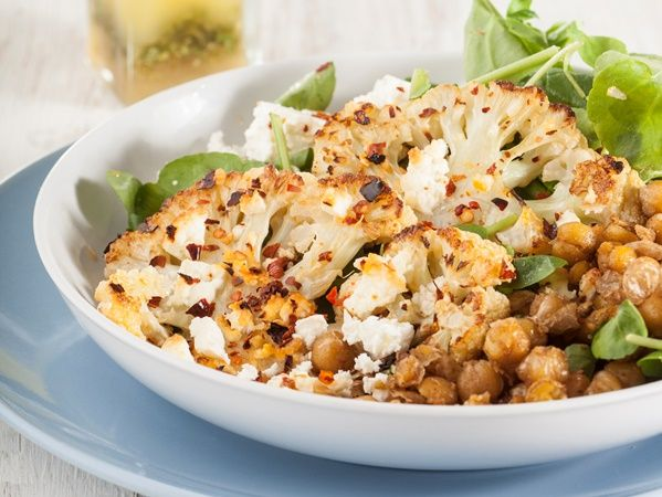 Roast cauliflower and chickpea salad • A hearty vegetarian salad with a hint of chilli.