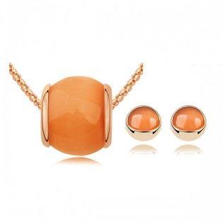 Set bijuterii cu Swarovski Light Orange Stone