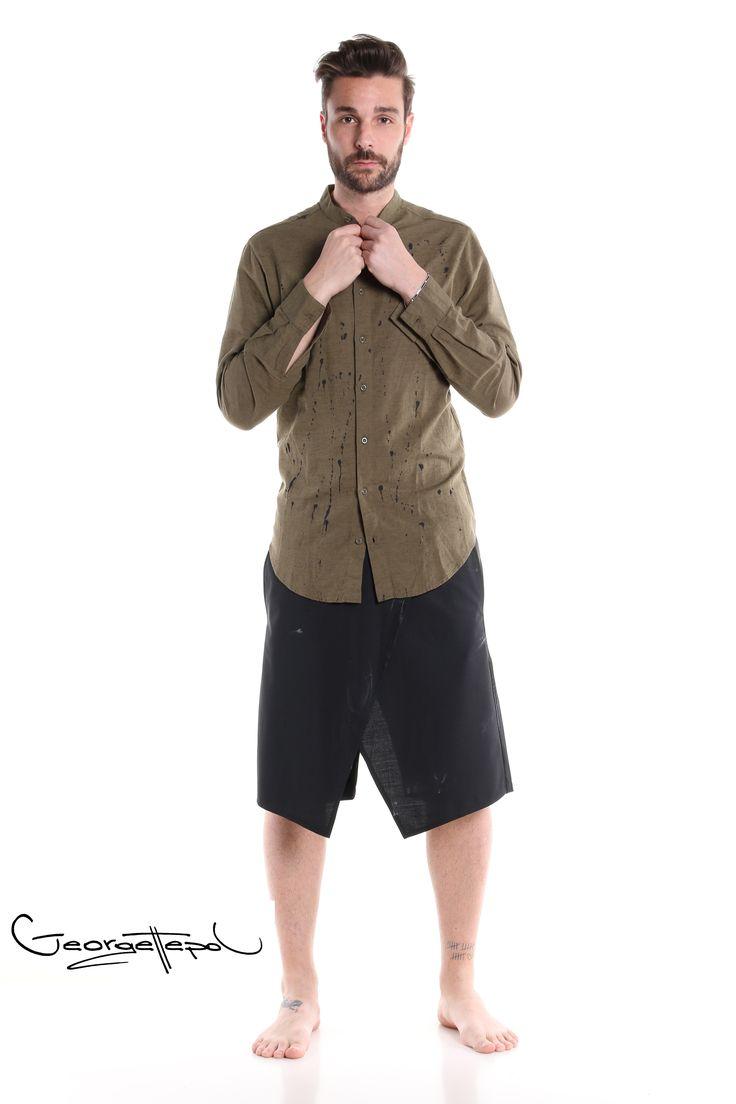 Military linen shirt - Bermuda black canvas #bermuda #bottoms #canvas #fashion #man #painted #summer #shirt #linenshirt #black #iammyself #military #black #style #georgettepol