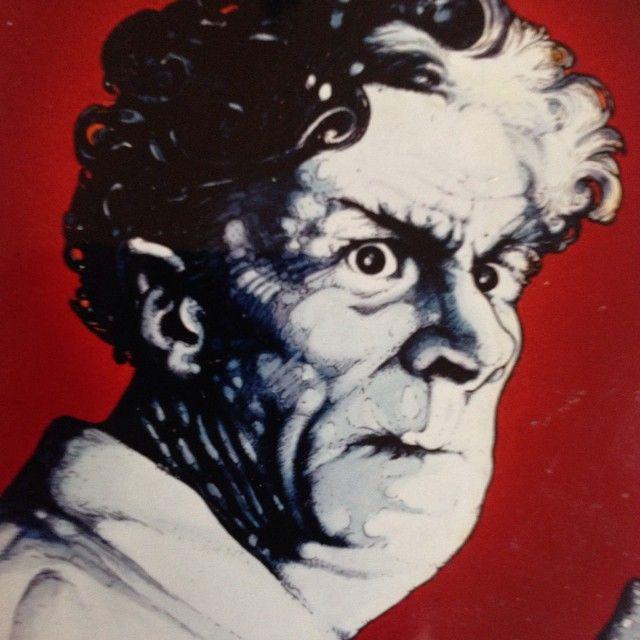 "Illustration of Dr Pretorius from ""The Bride of Frankenstein,"" 1982. Illustration, Martin S. Lindsay."