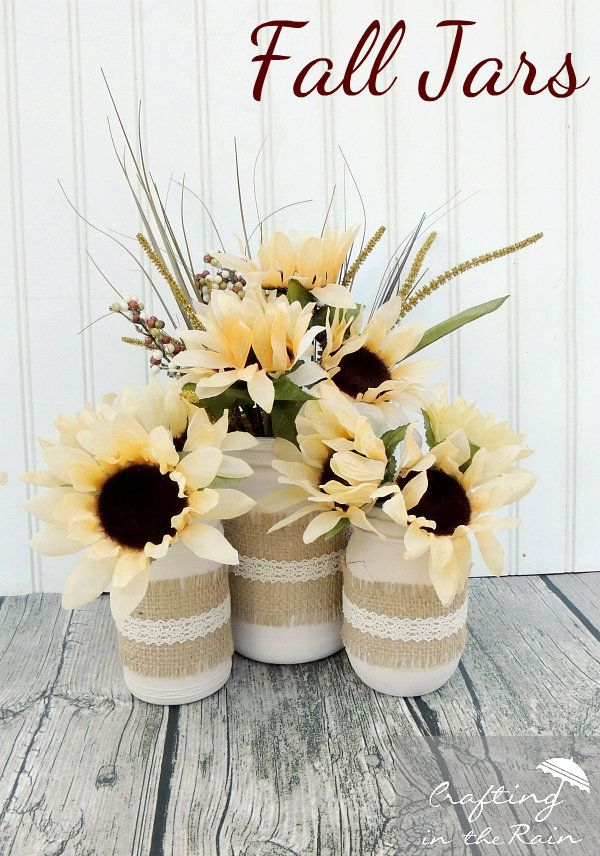 These are so cute!! Fall Jars with Dollar Store Flowers!
