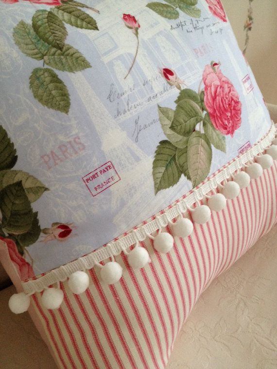 French Country Pillow Cover, Shabby Chic Pillow Cover, Sham, Paris Blue Rose…