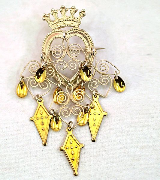 Vintage Solje .830 Silver Norwegian Wedding Crown Filigree Brooch