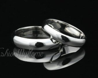 Couples Rings Set,Solid Sterling Silver Ring,Smooth Ring,Custom Engraving,Wedding Ring Set,His And Her Promise rings,Love Token