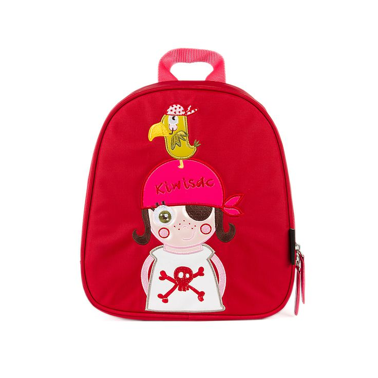 """Mochila roja de nylon con la """"piratilla"""" y su amigo el loro en la cabeza. #mochila #ThePirates Girl baby"""