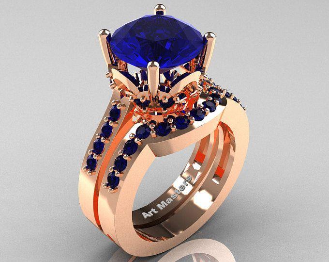 Set de anillo de bodas de oro 3,0 quilate solitario zafiro azul y clásico 14K R301S-14KRGBS
