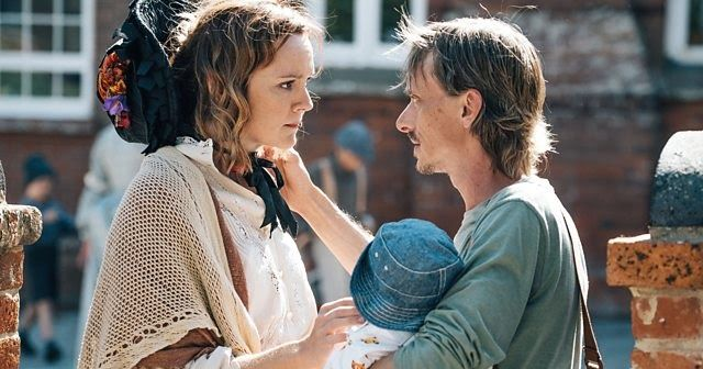 Rachael Stirling and Mackenzie Crook in Detectorists.