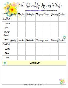 Budget101.com - - Free Printable Menu Planners | Meal Planning | Meal Plan