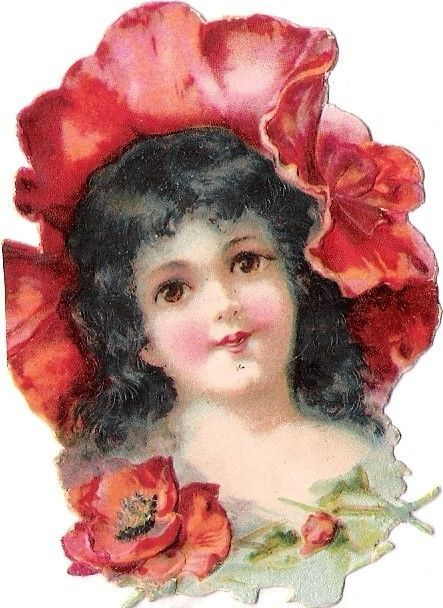 Oblaten Glanzbild scrap die cut chromo Blumen Kind 8cm flower child girl poppy