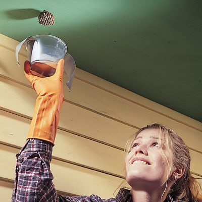 DIY Tip of the Day: Mess-Free Wasp Killer. If you have problems with wasp spray staining your nice looking soffits, siding, decking and shingles, here's a solution. Put a little wasp spray in the bottom of a plastic container, quickly sneak up after dark when they're asleep and tape it right over the nest. You can dump the carcasses, the container and the nest in the trash the next morning.