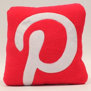 Pinterest cushion. Hand craft funky, designer social media cushion for people with a soft spot for Pinterest.