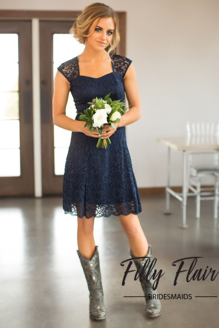 country wedding boots country dresses for weddings Celeste Bridesmaid Dress in Navy