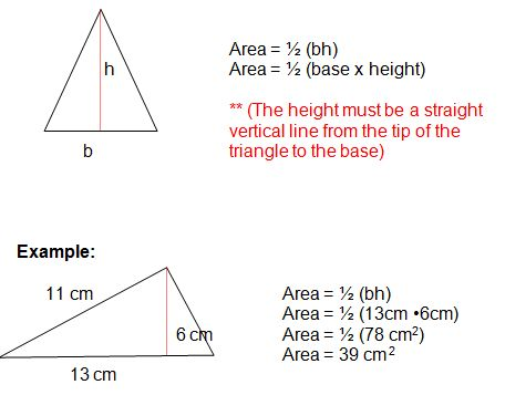We can find the area of a triangle in different ways depending upon the value given in the problem.The area of triangle formulas is, A=1/2(b*h). Here b is the base of a triangle.h is the height of a triangle.One another way to find the area is the Heron's formula. It gives the area in terms of the three sides of the triangle. It is given by the following formula: