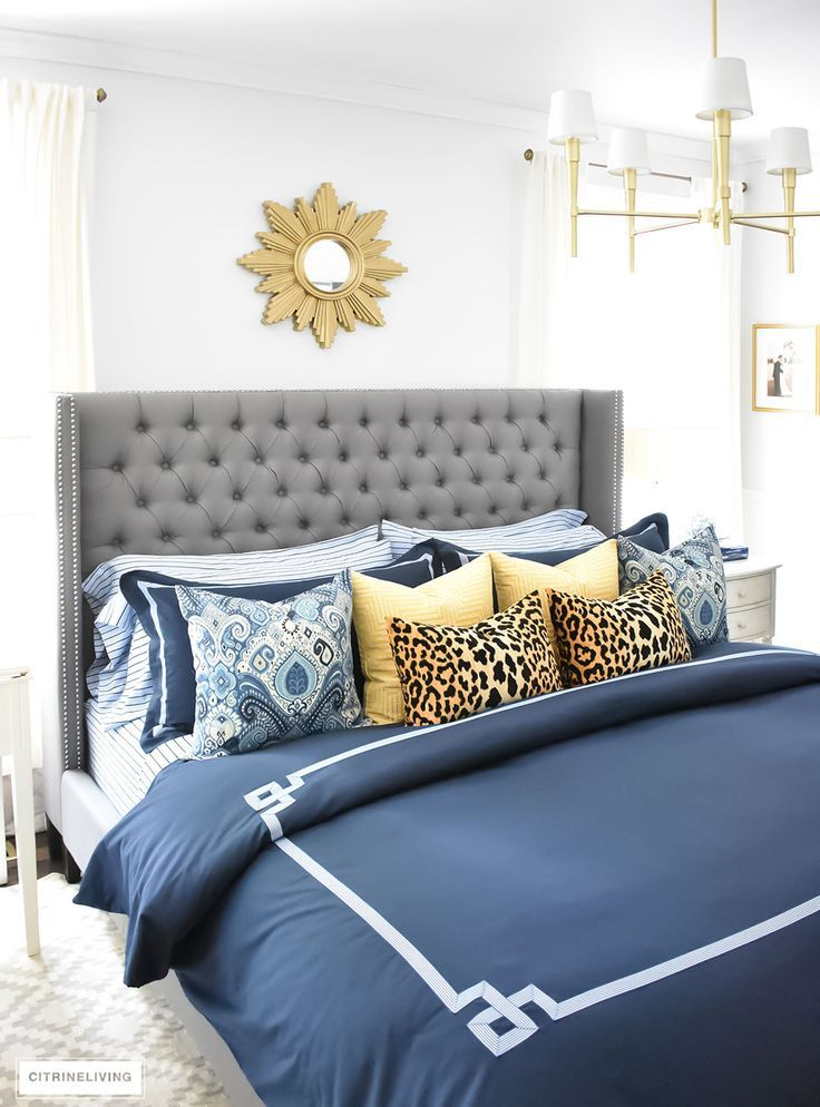 Our Fall bedroom Navy blue bedding